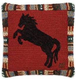 "Cinnamon Horse 18""x18"" Hooked Pillow"