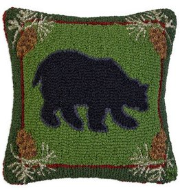 "Forest Bear 18""x18"" Hooked Pillow"