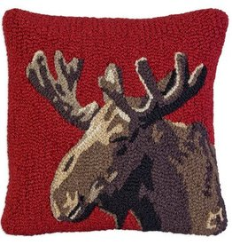 "Velvet Moose 18""x18"" Hooked Pillow"