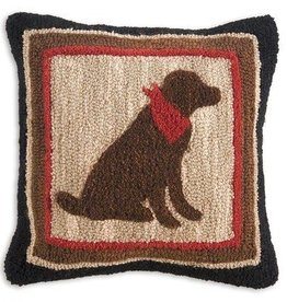 "Plush Chocolate Lab 18""x18"" Hooked Pillow"