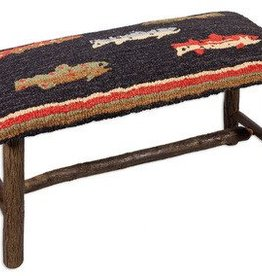 "River Fish 15""x32""17"" Hooked Top Wooden Bench"