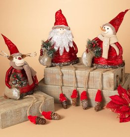 "27.5"" Foam Holiday Friends Shelf Sitter w/ Pinecones, 3 Asst - Santa, Snowman and Reindeer"
