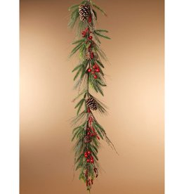 5'L PVC Holiday Garland w/ Pincones & Berries
