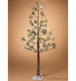 4' Electric Snowy Pine LED Lighted Tree, 56 Warm White LED Lights, 9' lead wire, with outdoor UL adaptor.