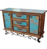 Turquoise Copper Buffet w/ Iron Base