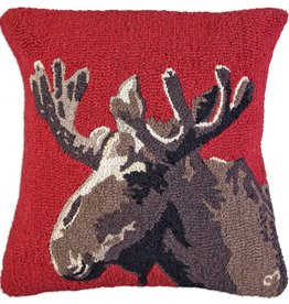"Velvet Moose on Red 26"" Hooked Pillow"