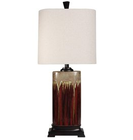 Classic Drip Glaze Ceramic Table Lamp- Tandori Spice & Arabick Finish with Woven Textile Shade