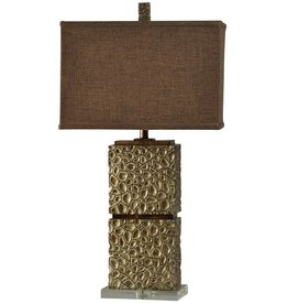Hand Carved Contemporary Table Lamp in Attamont Finish Rectangular Contrast Fabric Shade