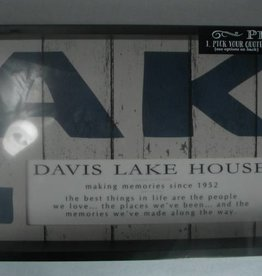 Large Weathered Personalized LAKE Sign
