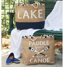Lake Rope Tote Tan Paddle Your Own Canoe - Pictured Bottom Right