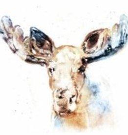 Watercolor Moose Canvas 20x20