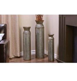 2/Set Rustic Metal Cylinder Design Floor Vases