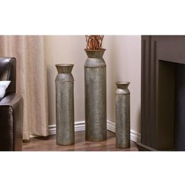 3/Set Rustic Metal Cylinder Design Floor Vases