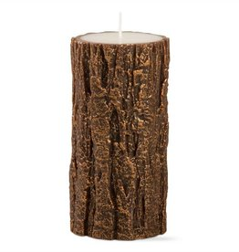 Gilded Tree Bark Pillar Candle (3X6)