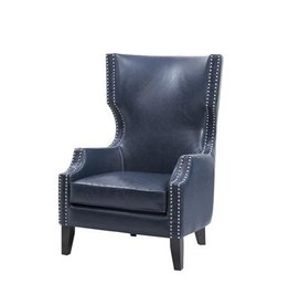 Brighton Modern Wing Chair - Navy