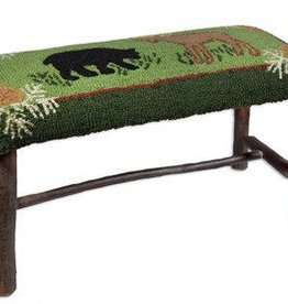 """Bear and Moose 15""""X17""""X32"""" Hickory Bench"""