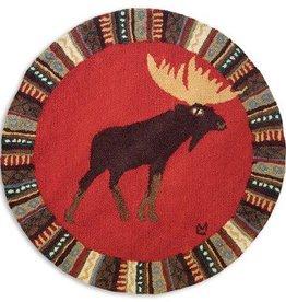 Cinnamon Moose Hooked Round Rug
