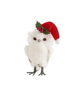 9 Inch White Owl with Red Santa Hat