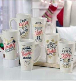 Ceramic Christmas Latte Mug, 6 Asst
