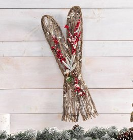 Rattan/Wire/Foam Xmas Ski Decor