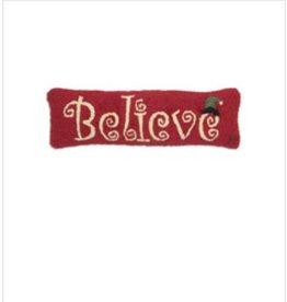 "Believe 8""x24"" Hooked Pillow"