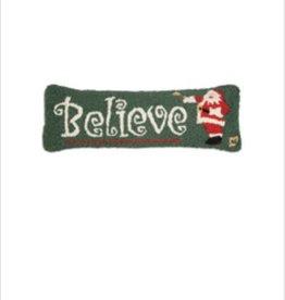 """Believe in Santa 8""""x24"""" Hooked Pillow"""