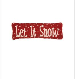 """Let it Snow 8""""x24"""" Hooked Pillow"""