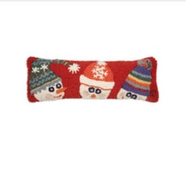 """Snow Hat Family 8""""x24"""" Hooked Pillow"""