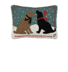 Evening Snow Dogs 14 x 20 Hooked Pillow