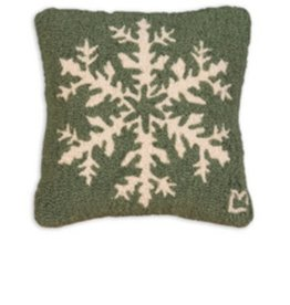 Pine Snowflake 14 x 14 Hooked Pillow
