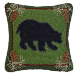 """Forest  Bear 18"""" Hooked Pillow"""