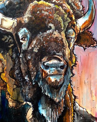 Bison wrapped canvas beckman 39 s for Mirror 72x36