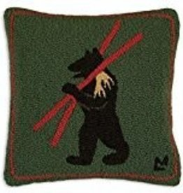 "Alpine Bear 18"" x 18"" Hooked Pillow"