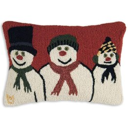 Snow Family 14 x 20 Hooked Pillow