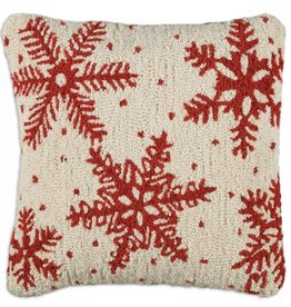 """Icy Flakes 18"""" Hooked Pillow"""