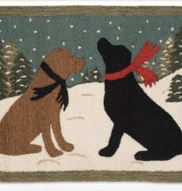 Evening Dogs Hooked Rug 2x3