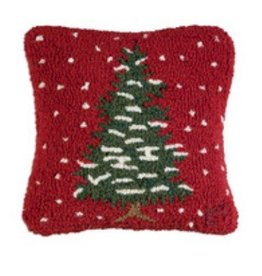 "Red Flurries Tree 14"" Hooked Pillow"