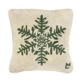 "Forest Flake 18"" Hooked Pillow"