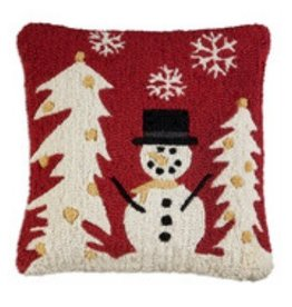 Simple Snowman 18x18 Hooked Pillow