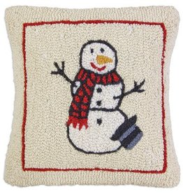 "Warm Snowman 18"" Hooked Pillow"