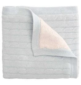 Blue Cable Blanket w/ Fur Back