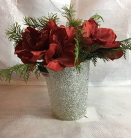 """14"""" Red Amaryllis in Clear Bead Pot"""