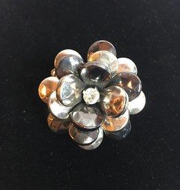 Hematite Antique Silver Flower Ring