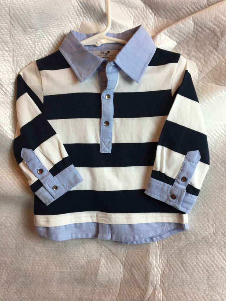Toddler Boy 12 18 Month Blue Striped Rugby Shirt