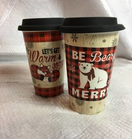 Ceramic Christmas Travel Mug, 2 Asst