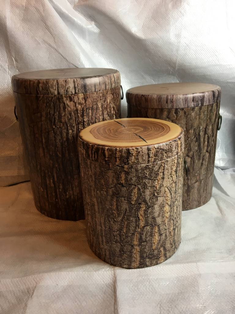 Merveilleux ... Nested Faux Tree Bark Storage Stumps