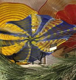 Wall Art Plate- blue and yellow folded