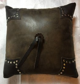 Leather Pillow- 16x16 w/Fabric Back, Timber Leather, Mesa Espresso Leather, Chocolate Suede, Studs-Round Silver Long Leg, Leather Rosette, FR- Azteca Brown Leather