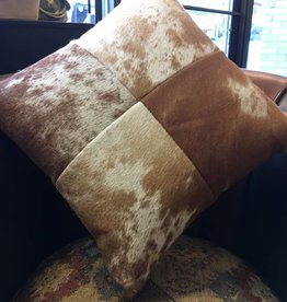 Leather Pillow, 16x16 with Fabric Back, Holland Brown, Back -Chestnut Suede