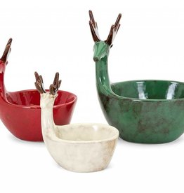 Homestead Christmas Reindeer Dishes - Set of 3
